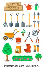 Garden tools and farming instruments flat vector icons set. Cartoon infographic elements of agriculture work equipment and plants cultivation hobby activity objects. Isolated on white