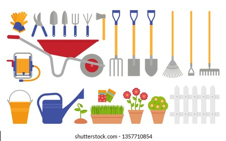 Garden tools. Gardening set. Vector. Instrument icons for horticulture rake, shovel, watering equipment, scissors, seed, plant, pruner. Collection isolated, white background. Cartoon flat illustration
