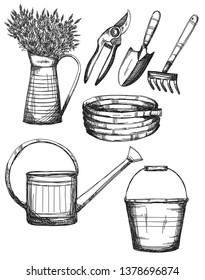 Garden tools, hand drawn illustrations, vector