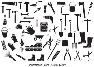 Garden tools icons set - black silhouettes (ax, pick, hammer, shovel, rake, scissors, nail, wrench, paint roller, shears, wheelbarrow, trowel, watering can, brick wall)