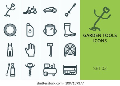 Garden tools icons set. Set of garden lawn mower, gas trimmer grass, lawn mower robot, pole saw, gloves, trimmer line, auger tools icons