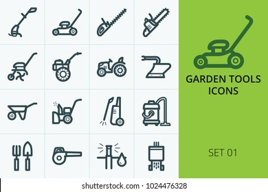 Garden tools icons set. Set of trimmer, lawn mower, tractor, chainsaw, trolley, high pressure cleaner, hedge trimmer.