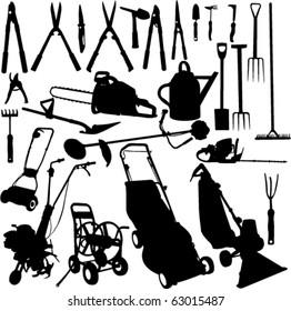 garden tools set 1 - vector
