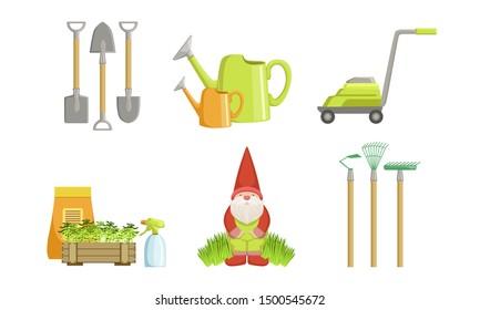 Garden Tools Set, Gardening Equipment, Shovel, Watering Can, Gnome, Rakes, Lawnmower Vector Illustration