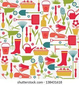 Garden tools set. Seamless pattern.