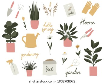 Garden tools set. Vector gardening elements: plants, flowers, watering can, scissors, pruning shears, hand trowel, rake, rubber gloves, spray. Home garden, growing plants, happy gardening concepts.