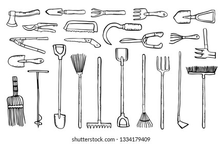 Garden tools set. Vector hand drawn outline sketch illustration black on white background. Shovels, rakes, brushes, secateurs