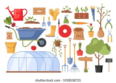 Garden tools. Vector gardening equipment with flowers, rubber boots, glove, seedling, watering can, scissors, wheelbarrow, shovel, rake, saw, bucket isolated on white background. Spring farming icons