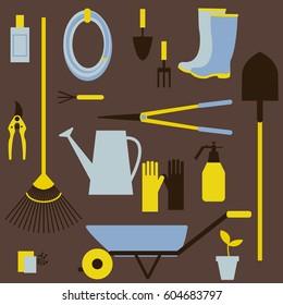 Garden tools. Watering can, bucket, secateurs, spade, rake, shovel, seeds, garden wheelbarrow, rubber boots, gloves. Vector pattern.