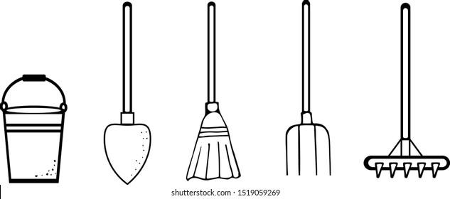 Garden tools for working in the garden, on the street. Cartoon sketch: broom, spade, rake, pitchfork, bucket. Hand-drawn. Vector illustration