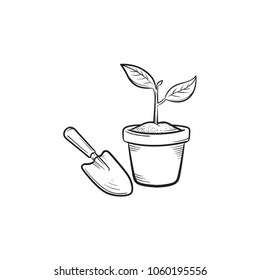Garden trowel and pot hand drawn outline doodle icon. Pot with plant and garden trowel vector sketch illustration for print, web, mobile and infographics isolated on white background.