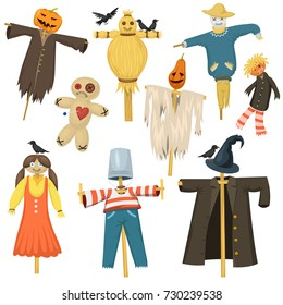 Garden ugly terrible fabric scarecrow fright bugaboo dolls on stiick and toy character dress from farm rag-doll vector illustration