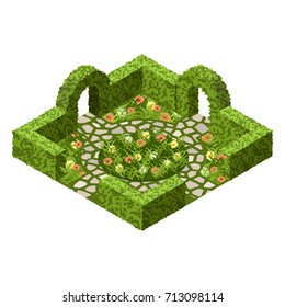 Garden vector asset with topiary bushes, flowers, grass and paved walk way. Isometric set, vector illustration. Can be used to create garden scenes or landscapes in games, app etc.