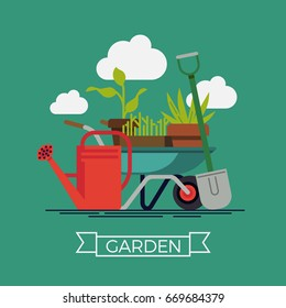 Garden vector concept design with shovel, watering can and wheelbarrow with plants and flowers. Gardening tools