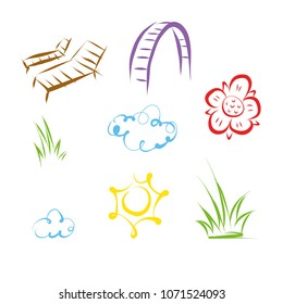 Garden vector objects on white background