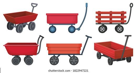 Garden wagon cartoon vector illustration on white background. Farm wheelbarrow set icon.Vector illustration set icon equipment of garden wagon.