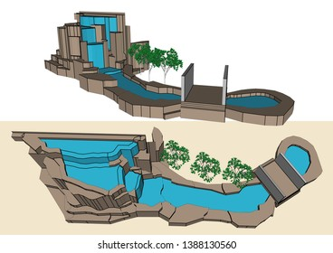 Garden waterfall Decoration Design, Vector & Illustration,