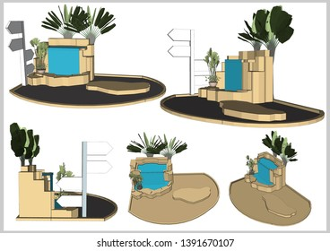 Garden waterfall Decoration and Guide post Vector & Illustration