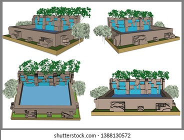 Garden waterfall Decoration Vector & Illustration