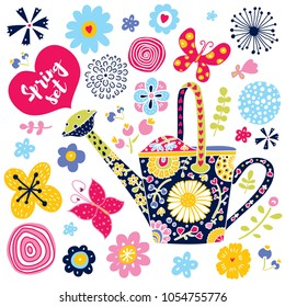 Garden watering can, flowers and butterflies. Cute bright spring set.