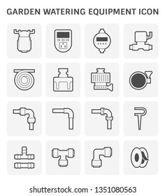 Garden watering equipment and sprinkler icon set design.