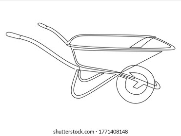 Garden wheelbarrow outline icon. Garden tools vector illustration.Continuous one line drawing.