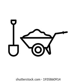 Garden wheelbarrow and shovel icon. Black contour linear silhouette. Side view. Vector simple flat graphic illustration. The isolated object on a white background. Isolate.