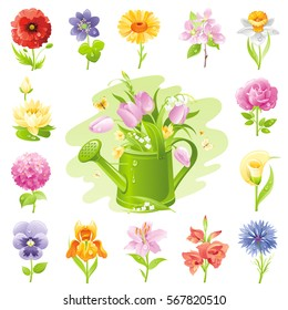 Garden wild flower icon set. Floral icons, summer spring plant flat symbol isolated white background. Easter Mothers day Birthday signs. Vector illustration. Watering can. Rose lily daisy tulip poppy