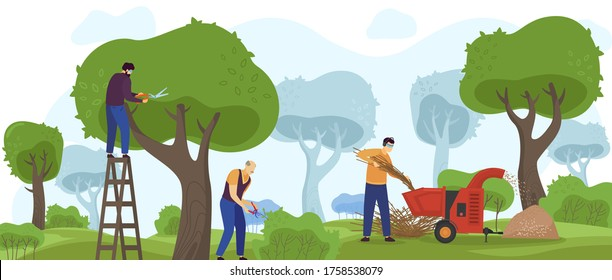 Garden work vector illustration. Cartoon flat gardener workers group people working with gardening machinery, trimming green tree, pruning bush shrubs and hedges, landscape design service background