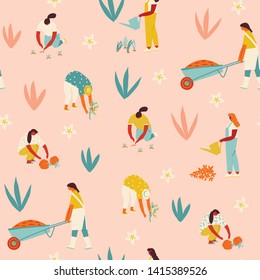 Garden workers seamless pattern. Farmer gardener cartoon girl growing and harvesting vegetables and flowers in the community garden illustration in vector.