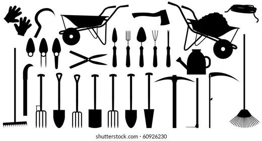 Garden working tools silhouette vector illustration