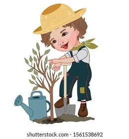 a gardener boy in a jumpsuit, hat and T-shirt is planting a tree, a watering can is standing next to the ground, color clip art on a white isolated background