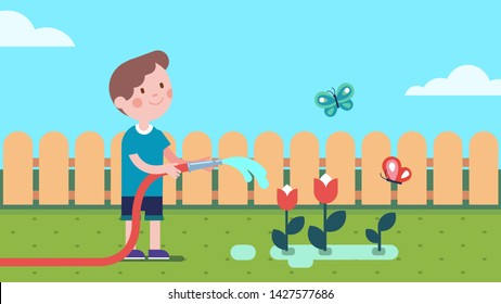 Gardener boy watering plants from garden hose on summer lawn with butterflies and fence. Child enjoying gardening and planting flowers. Smiling kid cartoon character. Flat style vector illustration