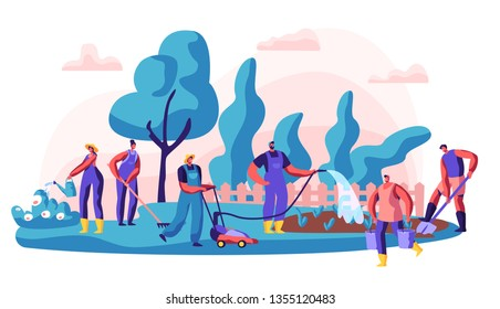 Gardener Caring of Residential Territory. Character Watering Bush and Flower, Digging and Working with Lawn Mower. Summer Vacation or Community Gardening. Flat Cartoon Vector Illustration
