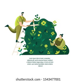 Gardener caring for Vertical Garden Green wall in interior Grower pruning plunt and leaves Evironment friendly Ecodesign for offices ecological Grass advertising for gardening Flat Vector illustration