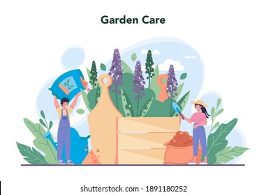 Gardener concept. Idea of horticultural designer business. Character planting trees and bush. Special tool for work, shovel and flowerpot, hose. Isolated flat illustration