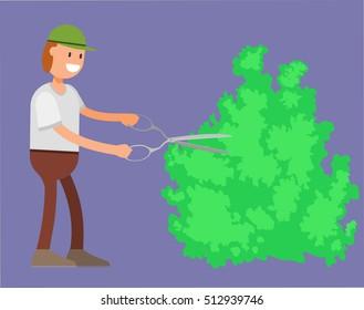 gardener gardening, Shearing bushes, flat vector illustration