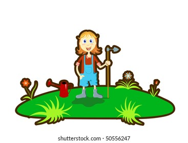Gardener girl in the backyard with tools