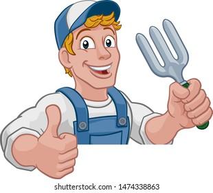 A gardener, handyman or farmer cartoon caretaker contractor man holding a garden fork tool. Peeking over a sign and giving a thumbs up