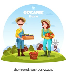 Gardener man with box of plums and village woman with basket of apples. Rural countryside with barn and windmills, trees on field. Harvest and agriculture, agrarian and organic, natural food theme