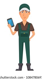 Gardener man, cartoon character in uniform. Handsome farmer holding smartphone. Vector illustration on white background.