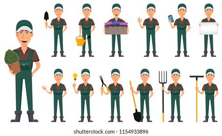 Gardener man, cartoon character in uniform. Handsome farmer, set of thirteen poses. Vector illustration on white background.