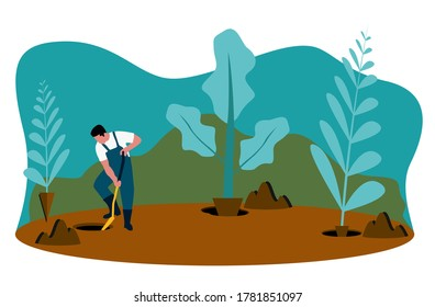 A gardener man trying to plant some tree and plants while gardenning using shovel
