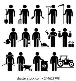 Gardener Man Worker using Gardening Tools and Equipments Stick Figure Pictogram Icons