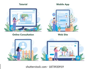 Gardener online service or platform set. Idea of horticultural designer business. Character planting trees and bush. Online consultation, tutorial, mobile app, website. Isolated flat illustration