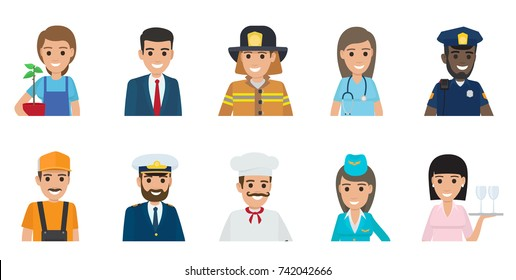 Gardener with plant, businessman, brave firefighter, doctor, African policeman, plumber, Italian chef, stewardess and waitress vector illustrations.