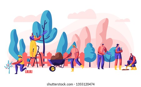 Gardener Relaxing Activity on Summer Cottage. Character Planting Beautiful Flower, Grafting and Caring of Tree and Shrub, Growing Vegetable and Fruit. Flat Cartoon Vector Illustration