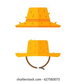 Gardener straw hat icons. Farmer cap vector illustration in flat design. Summer sunhat isolated on white background.