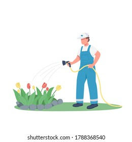 Gardener watering flowerbed flat color vector faceless character. Man growing flowers isolated cartoon illustration for web graphic design and animation. Horticulture service, gardening, landscaping