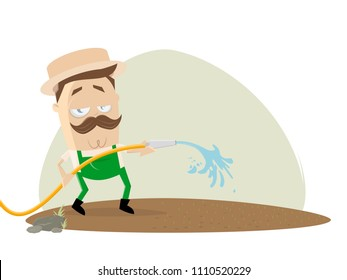 Gardener watering the lawn